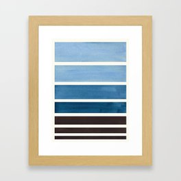 Navy Blue Minimalist Mid Century Modern Color Fields Ombre Watercolor Staggered Squares Framed Art Print