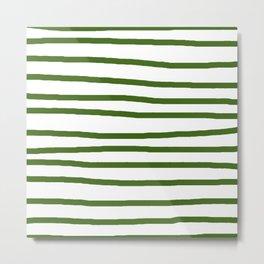 Simply Drawn Stripes in Jungle Green Metal Print