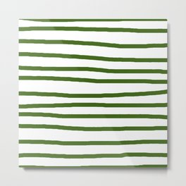 Simply Drawn Stripes in Jungle Green Metal Print