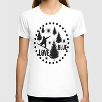 snowboard T-shirts featuring Forest Snowboard Love Blue by Patti Friday