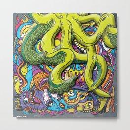 Octopus Attack Metal Print