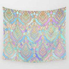 Jade & Blue Enamel Art Deco Pattern Wall Tapestry