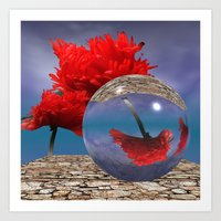 poppy and crystal ball - refraction of light Art Print