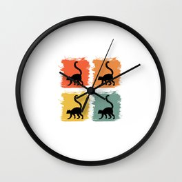 Lemur Primate Retro Pop Art Gift Idea Wall Clock