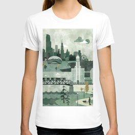 Chicago Travel Poster Illustration T-shirt