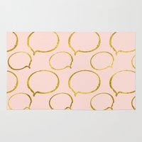 gold foil Area & Throw Rugs featuring Pink Gold Foil 01 by Aloke Design