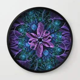 Bejeweled Butterfly Lily of Ultra-Violet Turquoise Wall Clock
