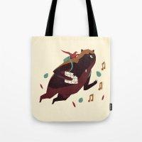 banjo Tote Bags featuring banjo-kazooie by Louis Roskosch