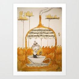 Sailing in coffee Art Print