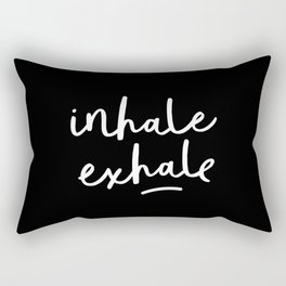 Inhale Exhale black-white typography poster black and white design bedroom wall home decor Rectangular Pillow