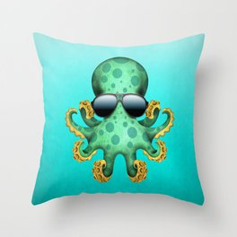 Cute Green Baby Octopus Wearing Sunglasses Throw Pillow