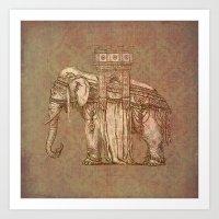 bastille Art Prints featuring Elephant Bastille by Bluepress