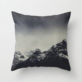Misty Dark Mountains Throw Pillow