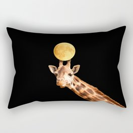 Giraffe And The Moon On A Black Background #decor #buyart #society6 Rectangular Pillow