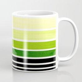 Sap Green Minimalist Mid Century Staggered Stripes Rothko Color Block Geometric Art Coffee Mug