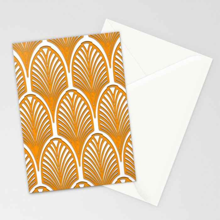 Orange,white,art deco, vintage,fan pattern, art nouveau, vintage, Stationery Cards