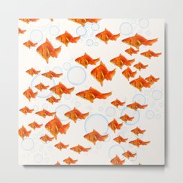 ABSTRACT GOLD FISH SWIMMING ART  DESIGN Metal Print