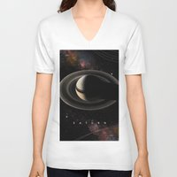 saturn V-neck T-shirts featuring SATURN by Alexander Pohl