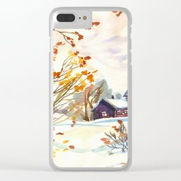 Late Autumn. First Snow. Rural Landsape. Birches Clear iPhone Case