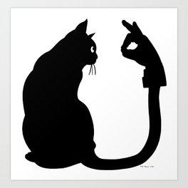 Chasing Shadows - Cat Tail Hand Shadow Puppet Surreal Fantasy Art Print
