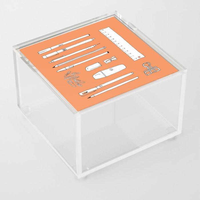 Stationery in orange Acrylic Box