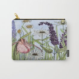 Lady Slipper Orchid Woodland Wildflower Watercolor Carry-All Pouch