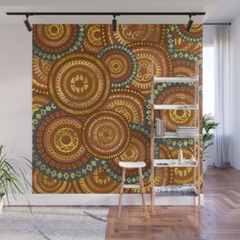 Circular Ethnic  pattern pastel gold and brown, teal Wall Mural