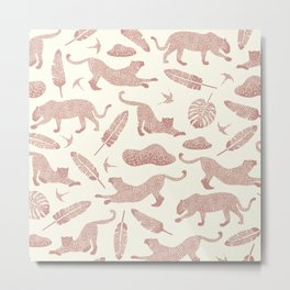 Blush Safari / Wild Cats, Monstera and Birds Metal Print