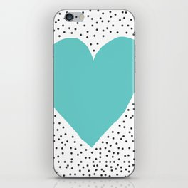 Turquoise heart with grey dots around iPhone Skin