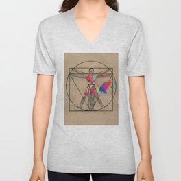 Vitruvian Man and a Burst of Color Unisex V-Neck
