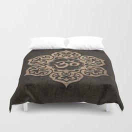 Aged Stone Lotus Flower Yoga Om Duvet Cover