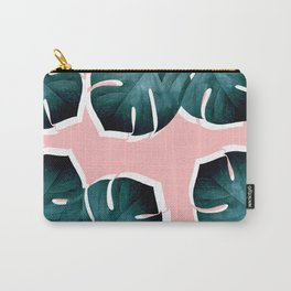 Monstera Leaves on Pink Carry-All Pouch