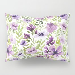 Watercolor/Ink Purple Floral Painting Pillow Sham