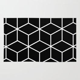 Black and White - Geometric Cube Design II Rug