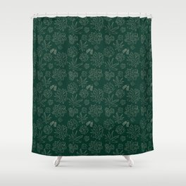 Dark Green Succulent Flower Garden Shower Curtain