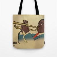 louis armstrong Tote Bags featuring Louis Armstrong by Borja Espasa