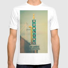 Bowling  Mens Fitted Tee MEDIUM White