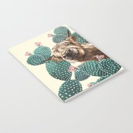Sneaky Highland Cow and Cactus in yellow Notebook