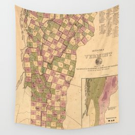 Vintage Map of Vermont (1848) Wall Tapestry