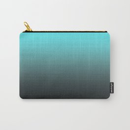 Cyan Gray Black Ombre Gradient Carry-All Pouch