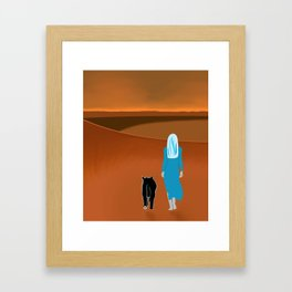 Sky Woman Goes for A Walk at Sunset on Mars With Sky Cat Framed Art Print
