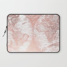 Rose Gold Pink Antique World Map Laptop Sleeve