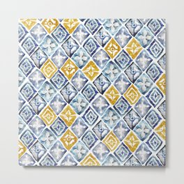 Blue and Gold Tribal Tiles Metal Print