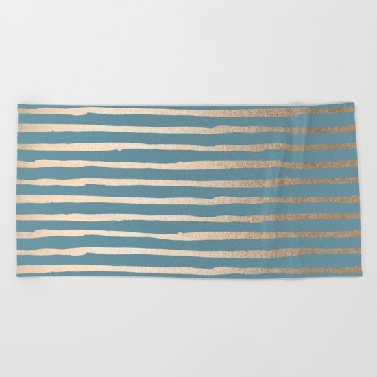 Abstract Stripes Gold Tropical Ocean Blue Beach Towel