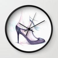 heels Wall Clocks featuring Runaway heels by pinodesk