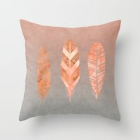 feathers Throw Pillows featuring Feathers by LebensART