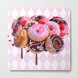 CHOCOLATE & PINK  STRAWBERRY GLAZED DONUTS ART Metal Print