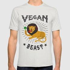 Vegan beast Silver MEDIUM Mens Fitted Tee