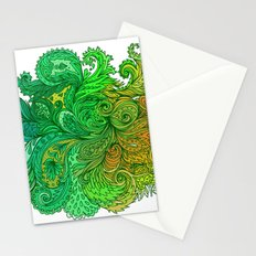 Green Floral Indian Pattern Stationery Cards