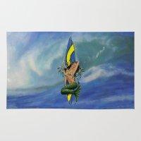 surfboard Area & Throw Rugs featuring MerMarilyn Mermaid with Surfboard Hawaiian Design   by Drive Industries